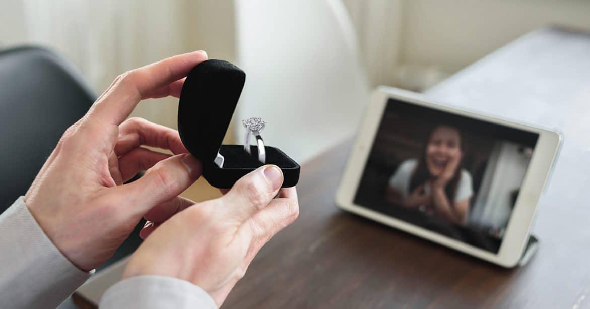 a man proposing to his girl via video