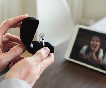 a man proposing to his girl via video
